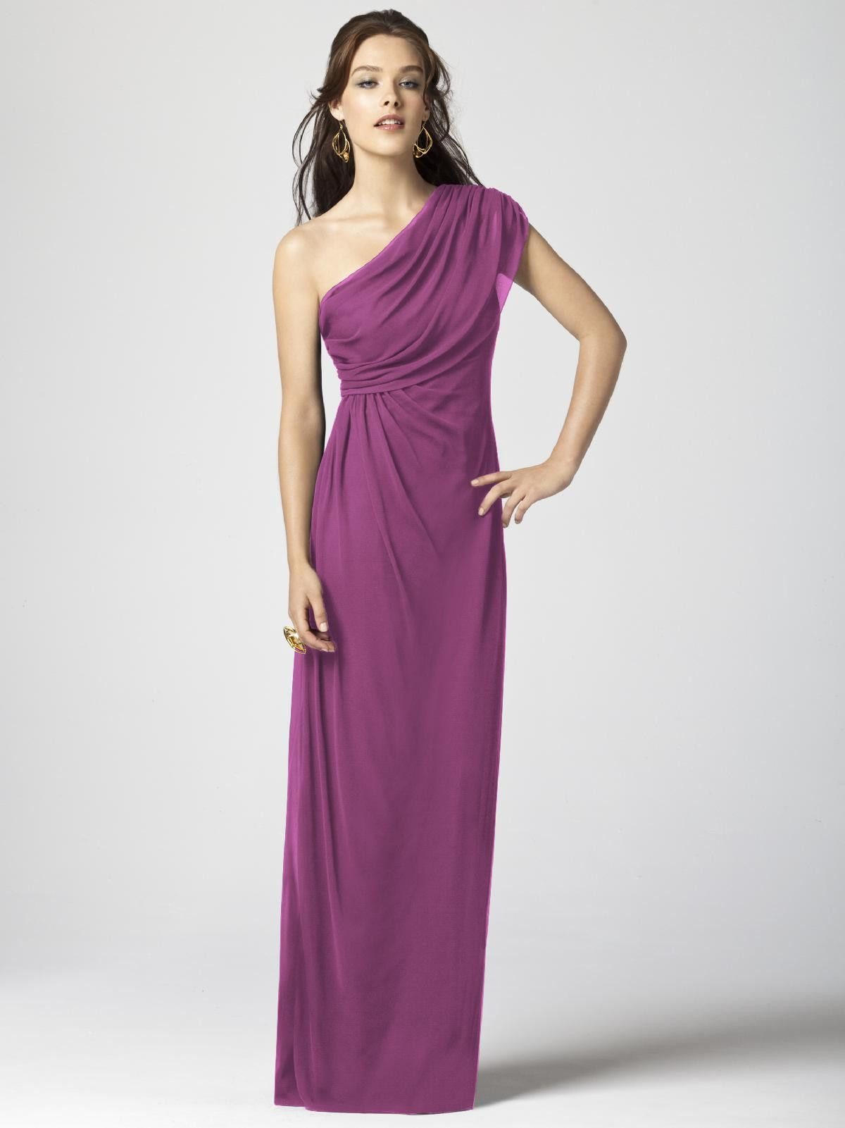 This beautiful chiffon dessy bridesmaids dress drapes effortlessly