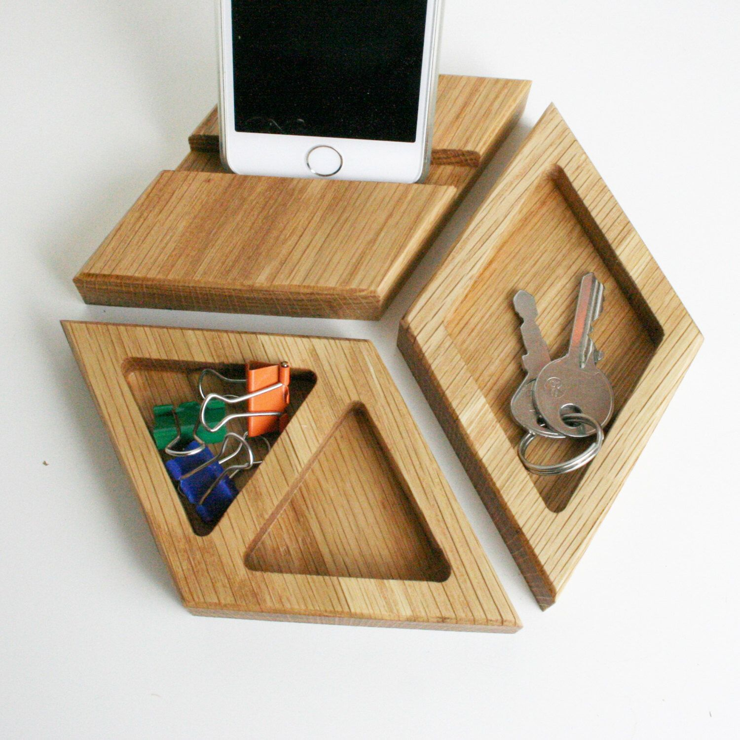 Wooden Office Gifts ~ Wood desk organiser natural oak tidy office