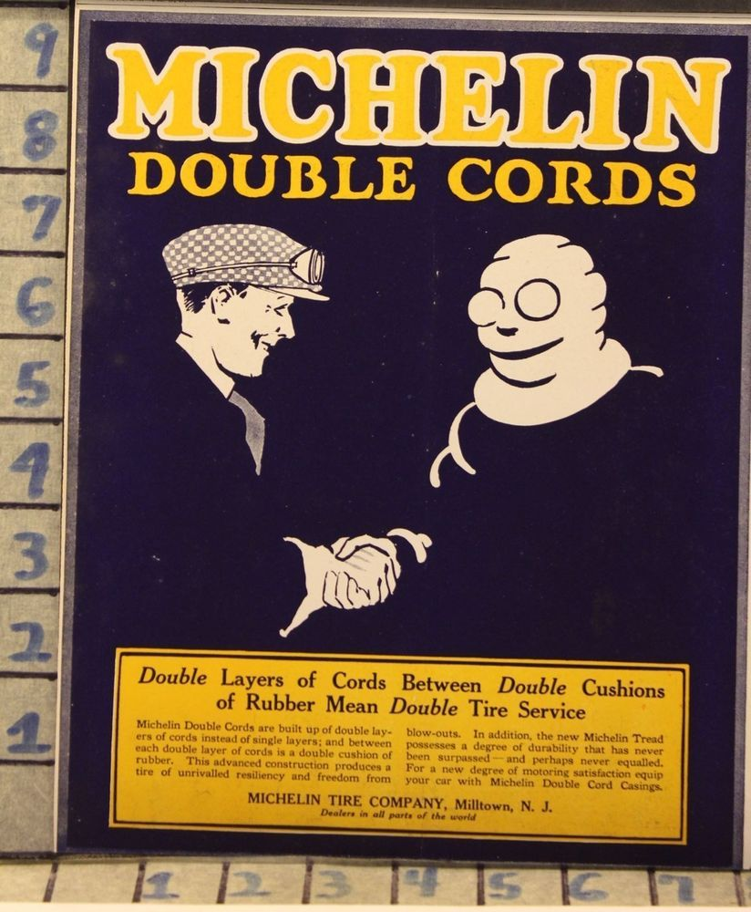 1920 MICHELIN TIRE MAN RACE SPORT CAR AUTO MEMORABILIA VINTAGE ART ...