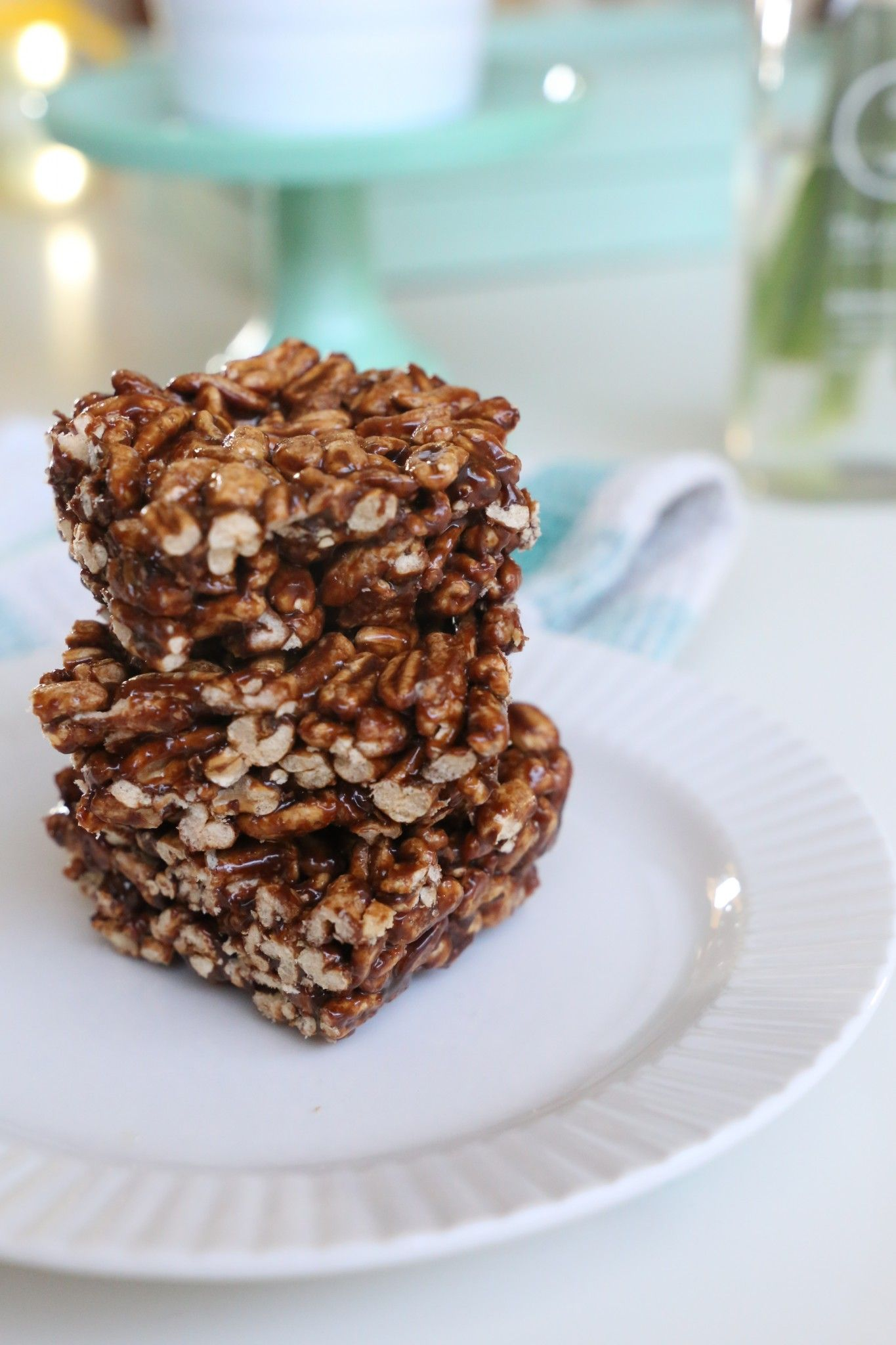 Healthier chocolate puff squares puffed wheat squares