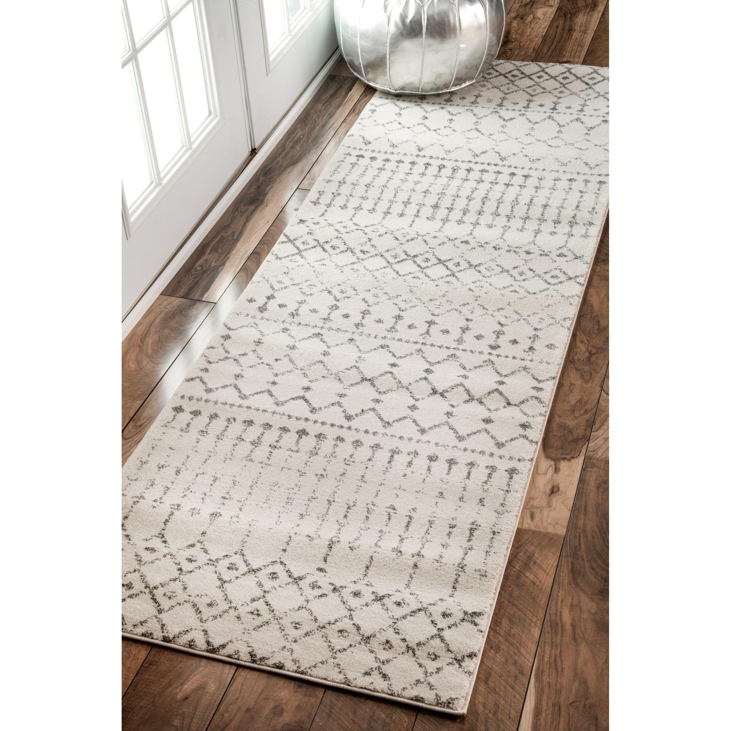 nuLOOM Geometric Moroccan Beads Grey Runner Rug 2 8 x 8 Grey