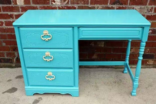 Turquoise Desk Vintage Desk Girl Desk Turquoise Desk