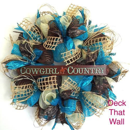 Turquoise, Brown, and Cream Cowgirl Country Deco Mesh Wreath