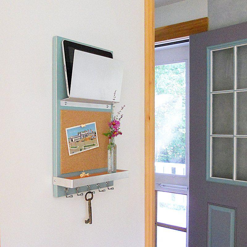 CORK MESSAGE CENTER: With IPad Mail Magazine Holder, Shelf
