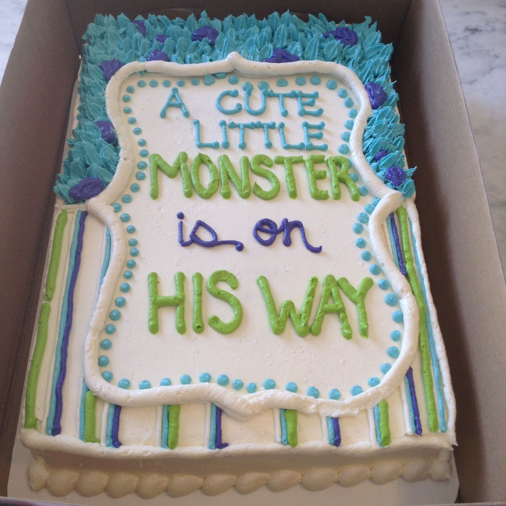 Monsters Inc baby shower cake from Sweet Matriarch Bakery Monster