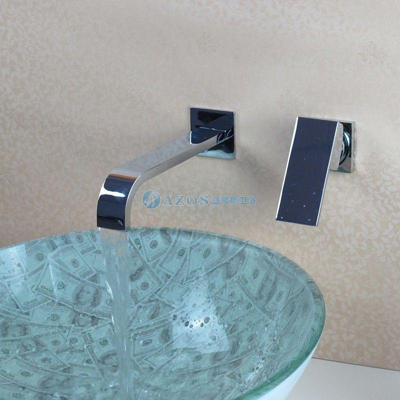 modern bathroom sink faucet hand