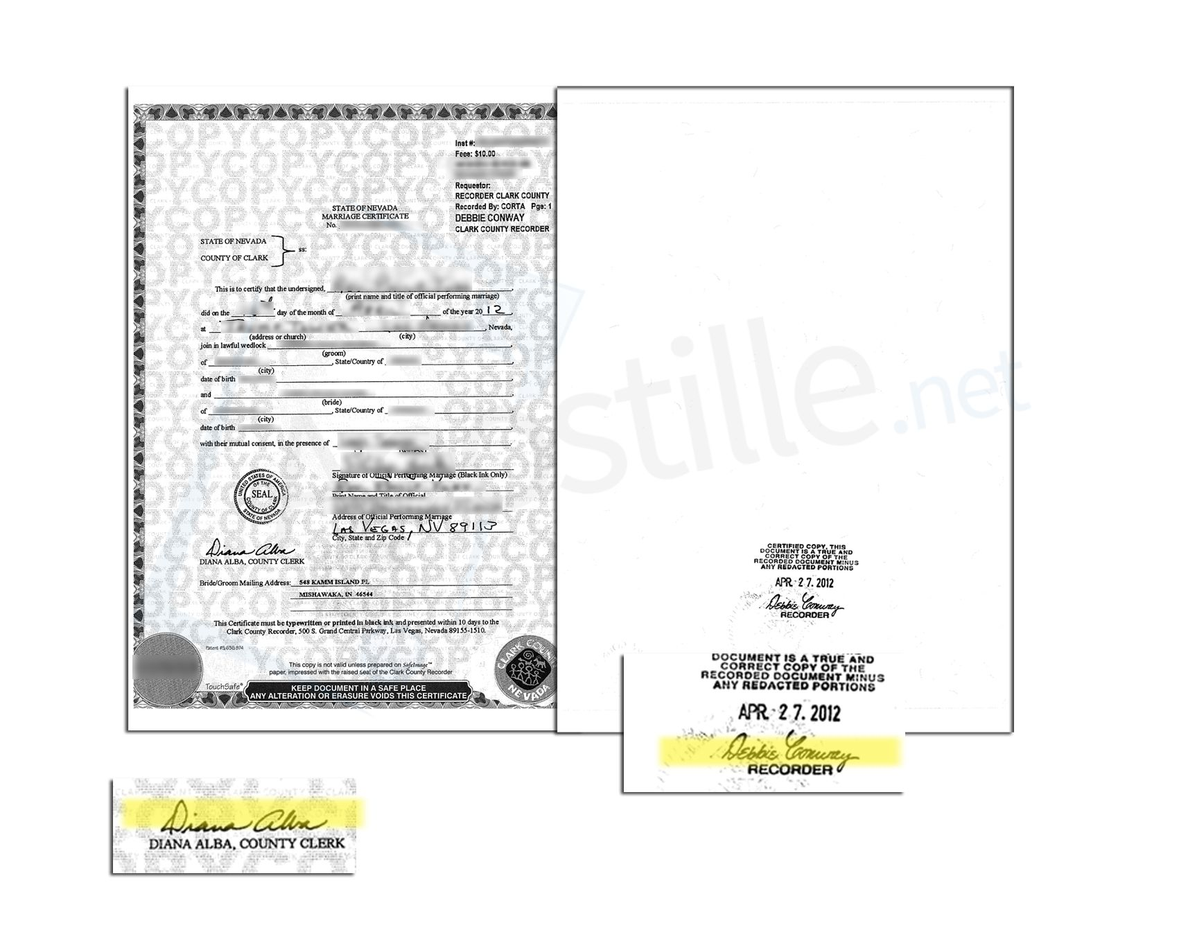 State Of Nevada Marriage Certificate Issued By Diana Alba County