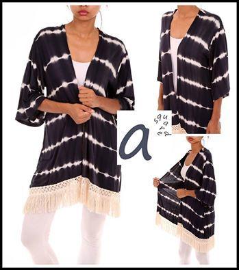 Tye Dyed Kimono with fringe trim