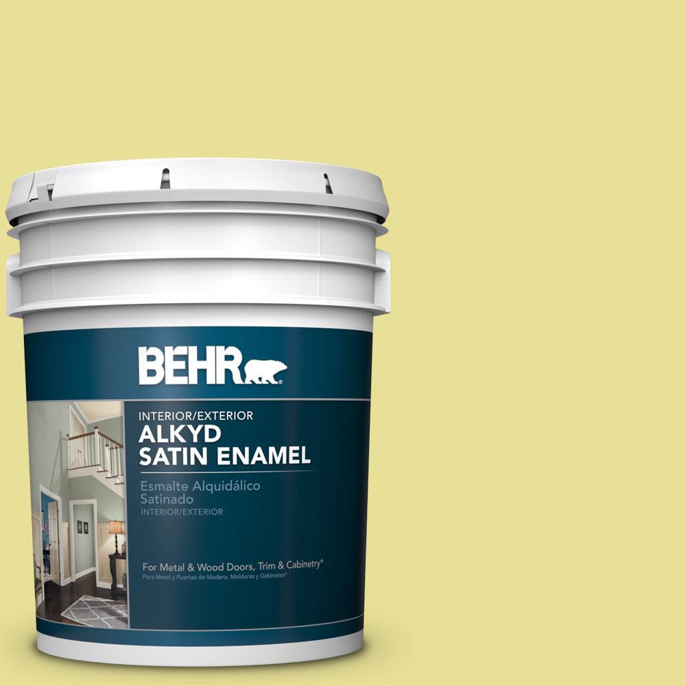 BEHR 5 gal  #P340-3 Reviving Green Satin Enamel Alkyd