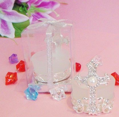 Free shipping  birthday gift Religious Supplies wedding gift bar supplies classical Imitation diamonds cross candle holder $680.00