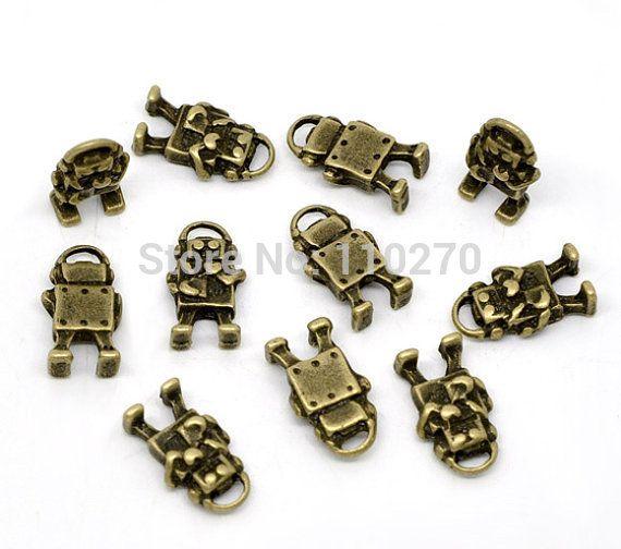 65pcs Antique Bronze Musical Robots Charm Pendants 9x17mm B503-1