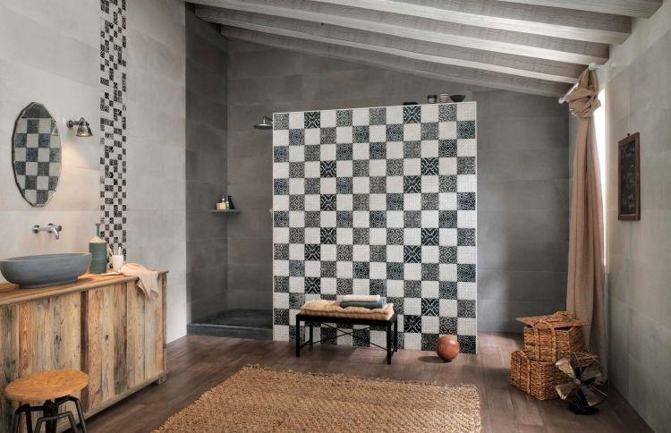 badfliesen-ideen-schachbrett-muster-schwarz-weiss-grau-holz-modern - interieur in weis und holz modern design