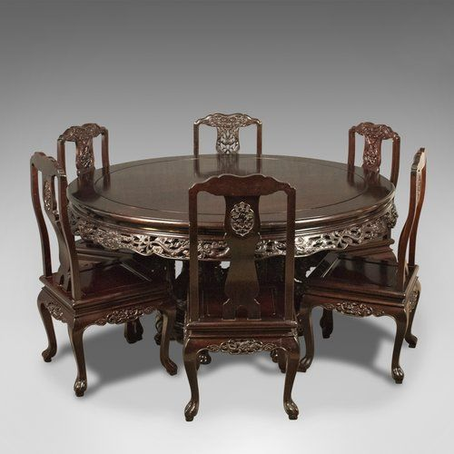 Oriental Rosewood Dining Table And Set Of 6 Chairs C 1980
