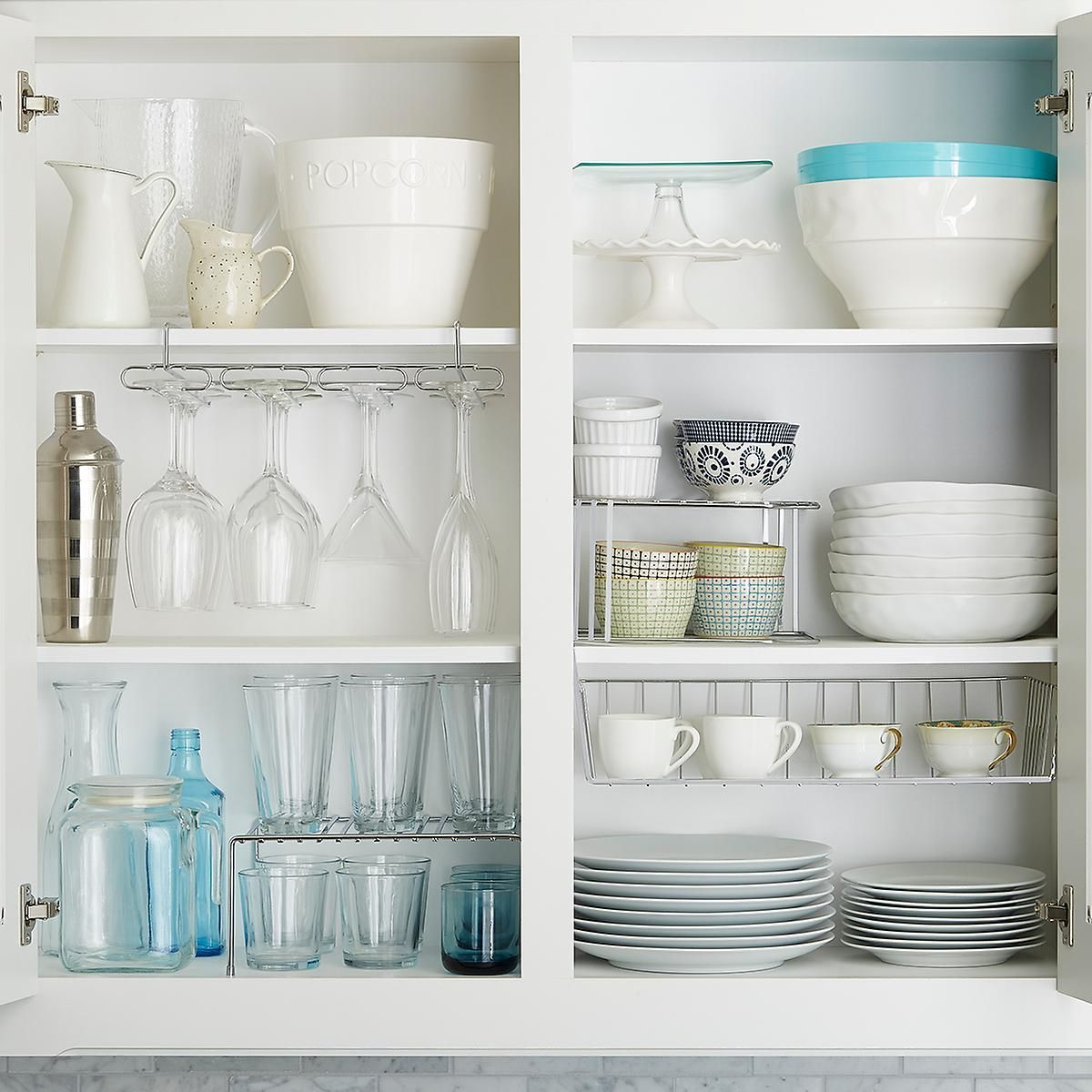 Upper Cabinet Organization Starter Kit The Container Store Glass Kitchen Cabinets Upper Cabinets Upper Kitchen Cabinets