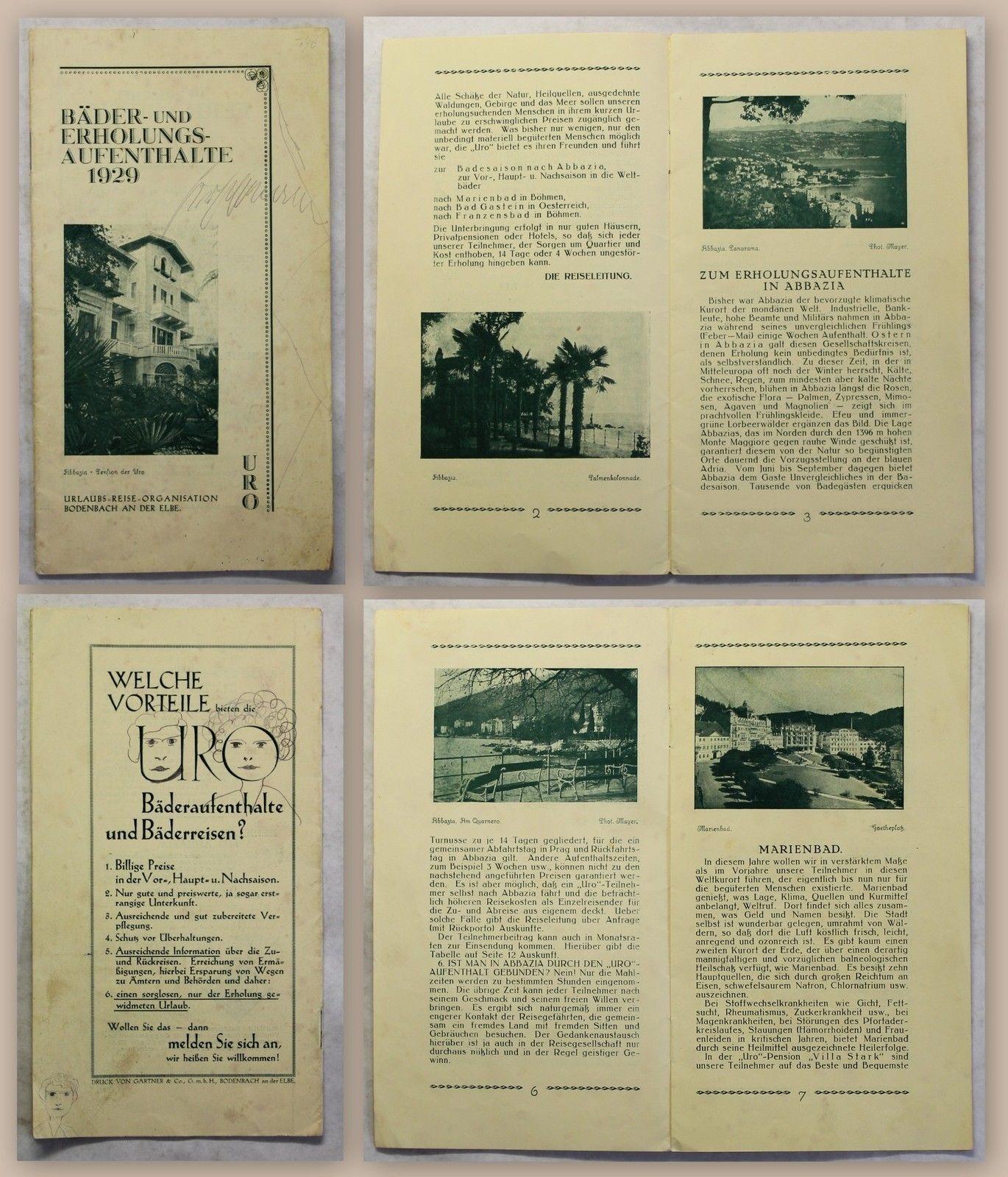 PROSPEKT BROCHURE DI VIAGGIO bagni e ripresa soggiorni 1929 abbazia ...