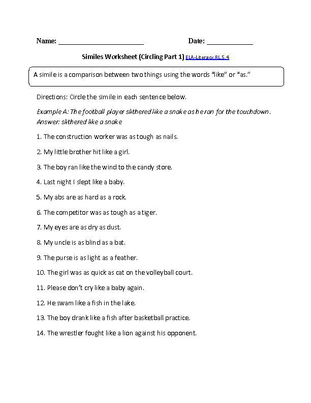 Printable Worksheets simile worksheets for middle school : 5th Grade Common Core | Reading Literature Worksheets | Education ...