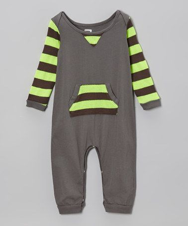 Gray & Neon Yellow Stripe Romper - Infant #zulily #zulilyfinds