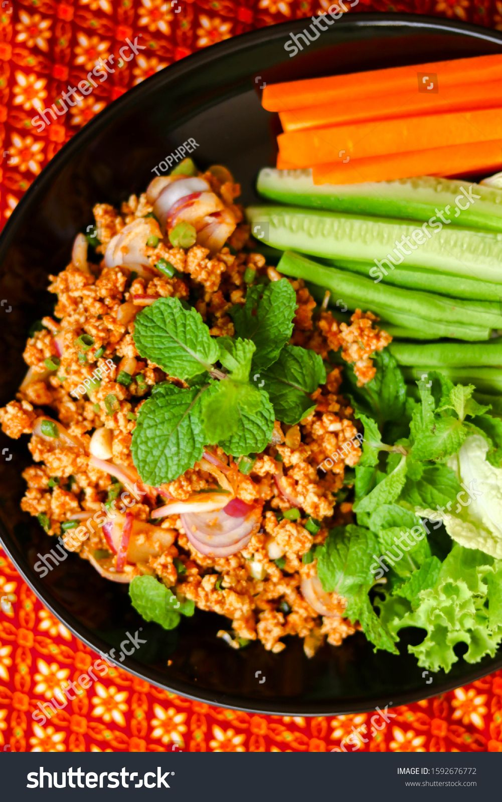 \nspicy minced meat salad marinated closeup juicy asian food home made vegetarian nutrition background lunch salad dinner green delicious fresh diet meal healthy vegetable food #Sponsored , #ad, #asian#juicy#food#vegetarian