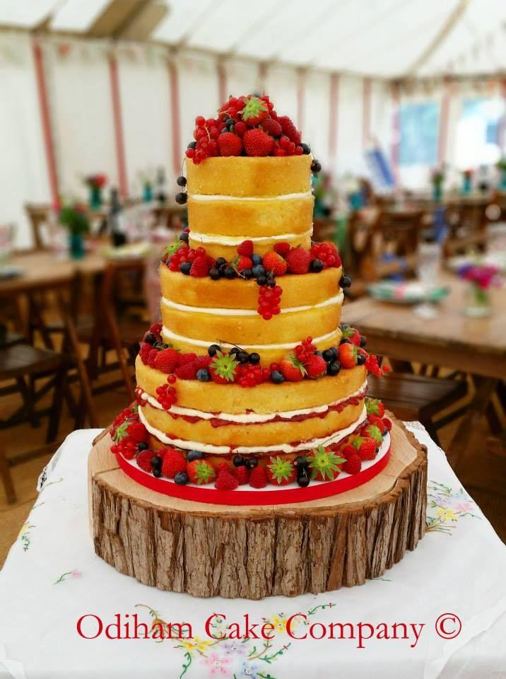 OCC - A lovely naked sponge wedding cake with fresh berries at the weekend. #cake #berries #sponge #wedding