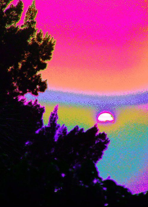 Bright And Colorful Sky As The Moon Rises From Trees Digitally Manipulated In The Extreme Modern And Contemporary Greeting Card featuring the digital art Sky Rainbow With The Moon by Expressionistart studio Priscilla Batzell