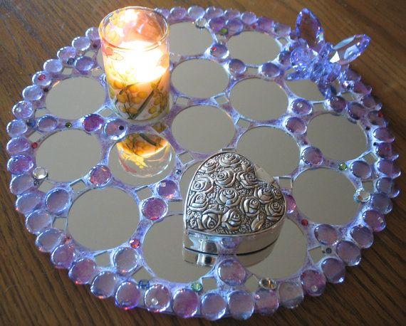 This Lovely 12 Inch Diameter Mosaic Perfume Vanity Dresser Centerpiece Tray Features A Genuine Swarovski Lave Mosaic Tile Mirror Mirror Mosaic Mosaic Mirror