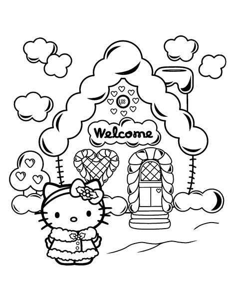 hello kitty christmas coloring pages Hello Kitty with a Gingerbread House! | Crafts | Hello kitty  hello kitty christmas coloring pages
