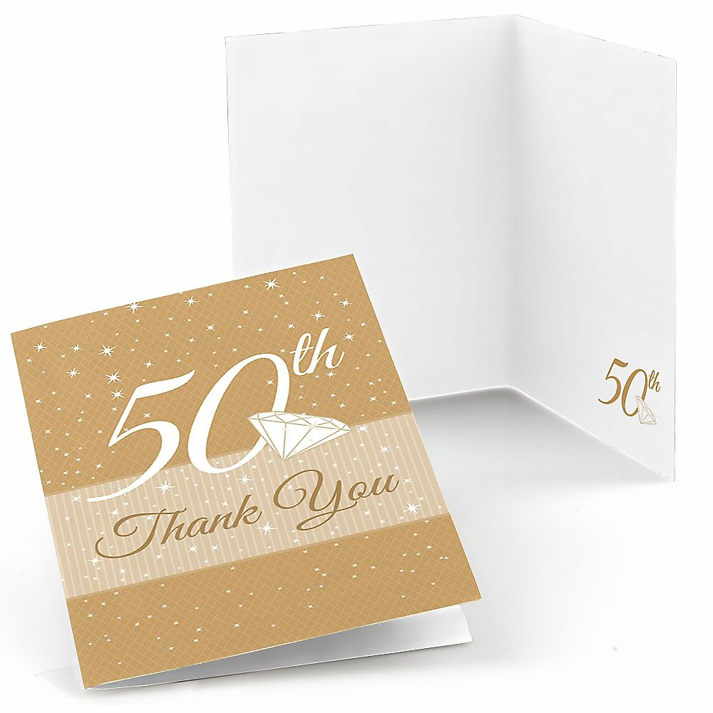 50th Anniversary Wedding Anniversary Thank You Cards 8 Ct