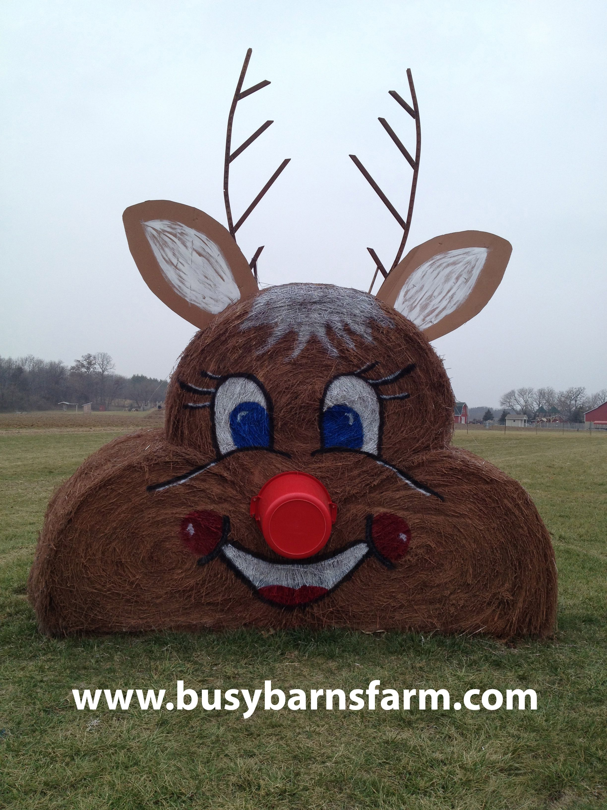 Busy barns farm reindeer round bale art round bale art for Bales of hay for decoration
