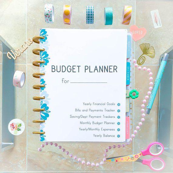 Budget Planner Printable Happy Insert Expense Tracker Finance Mambi Binder Kit