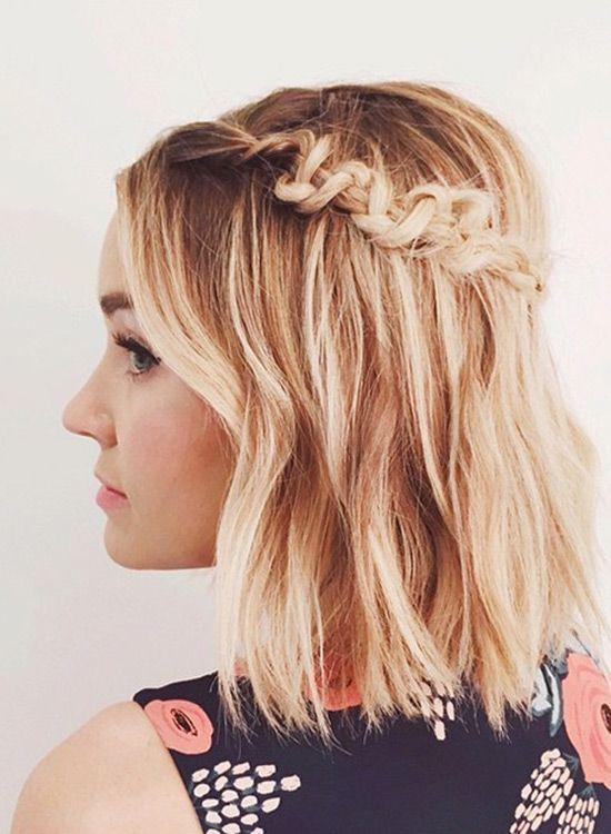 Lauren Conrad models a perfect braid for short hair and bobs.