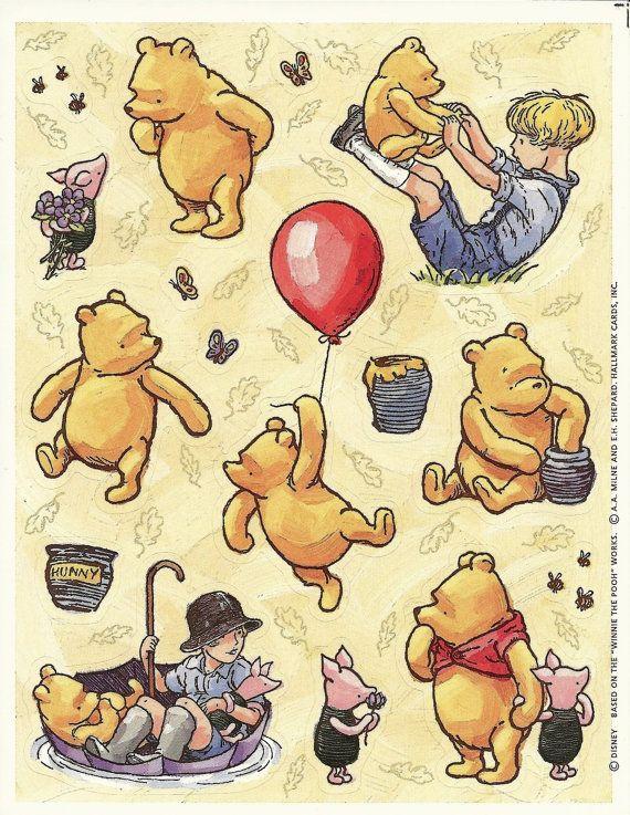 Photo of Vintage Hallmark Winnie the Pooh Sticker Sheet