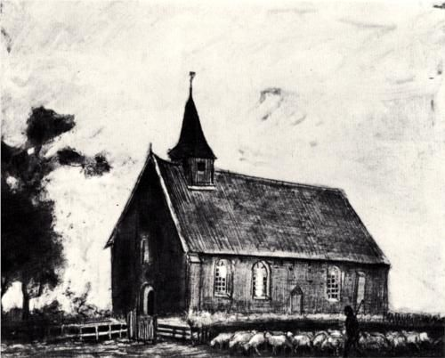 Vincent van Gogh (Dutch: 1853 – 1890) | Shepherd with Flock near a Little Church at Zweeloo (1883)