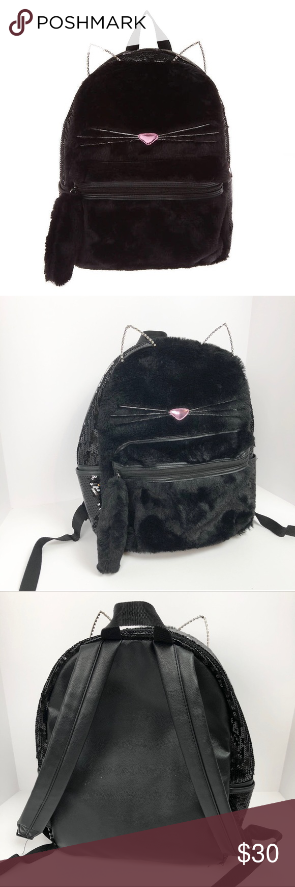 Claire's Fuzzy Sequin Black Cat Backpack 🔹like new