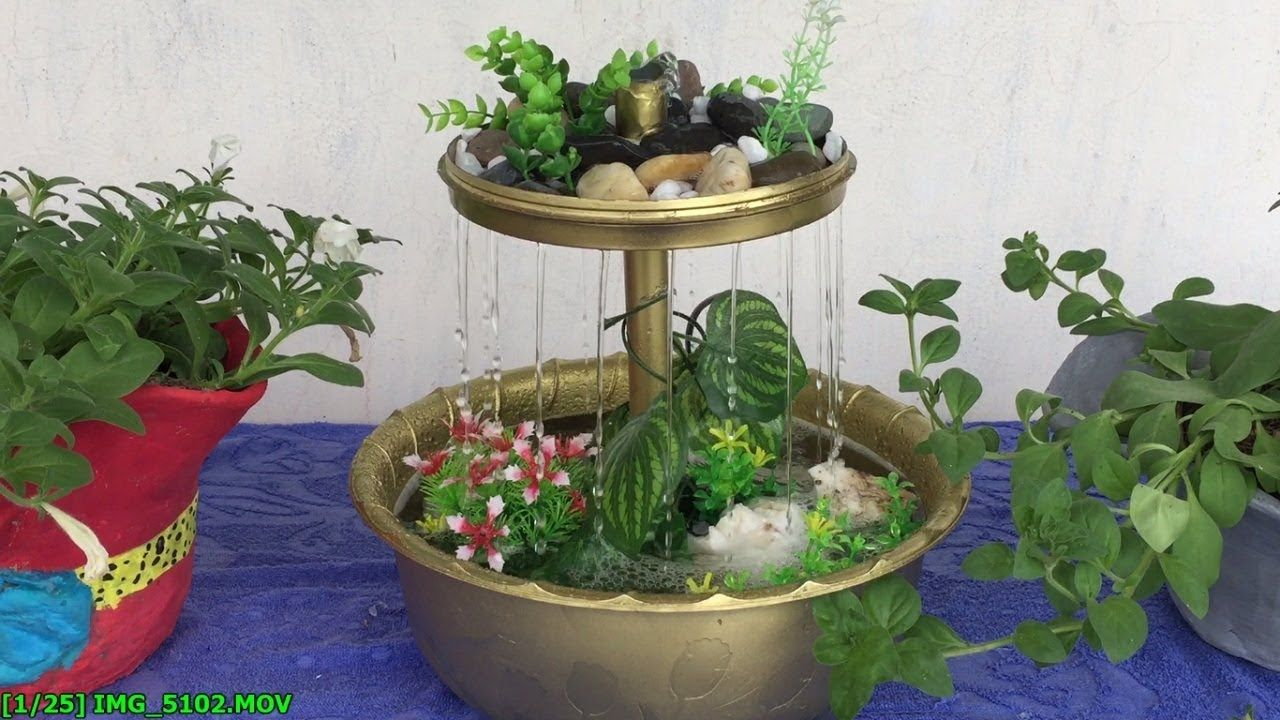 How To Make Rain Waterfall Fountain At Home Easy Diy Decoracion De Casa Con Plantas Fuente De Interior Fuentes De Agua