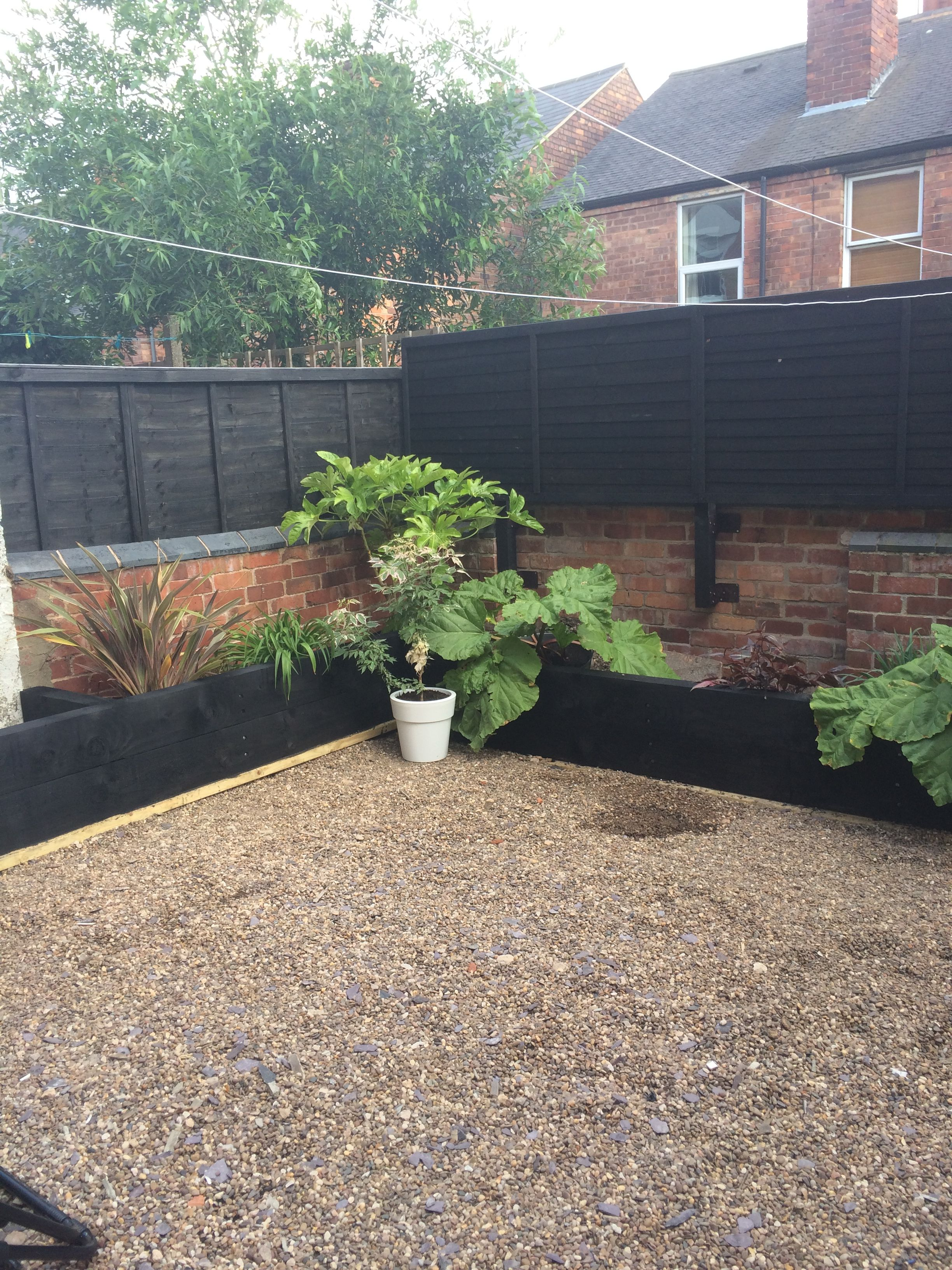 Black sleepers raised bed | Garden design, Modern garden ...