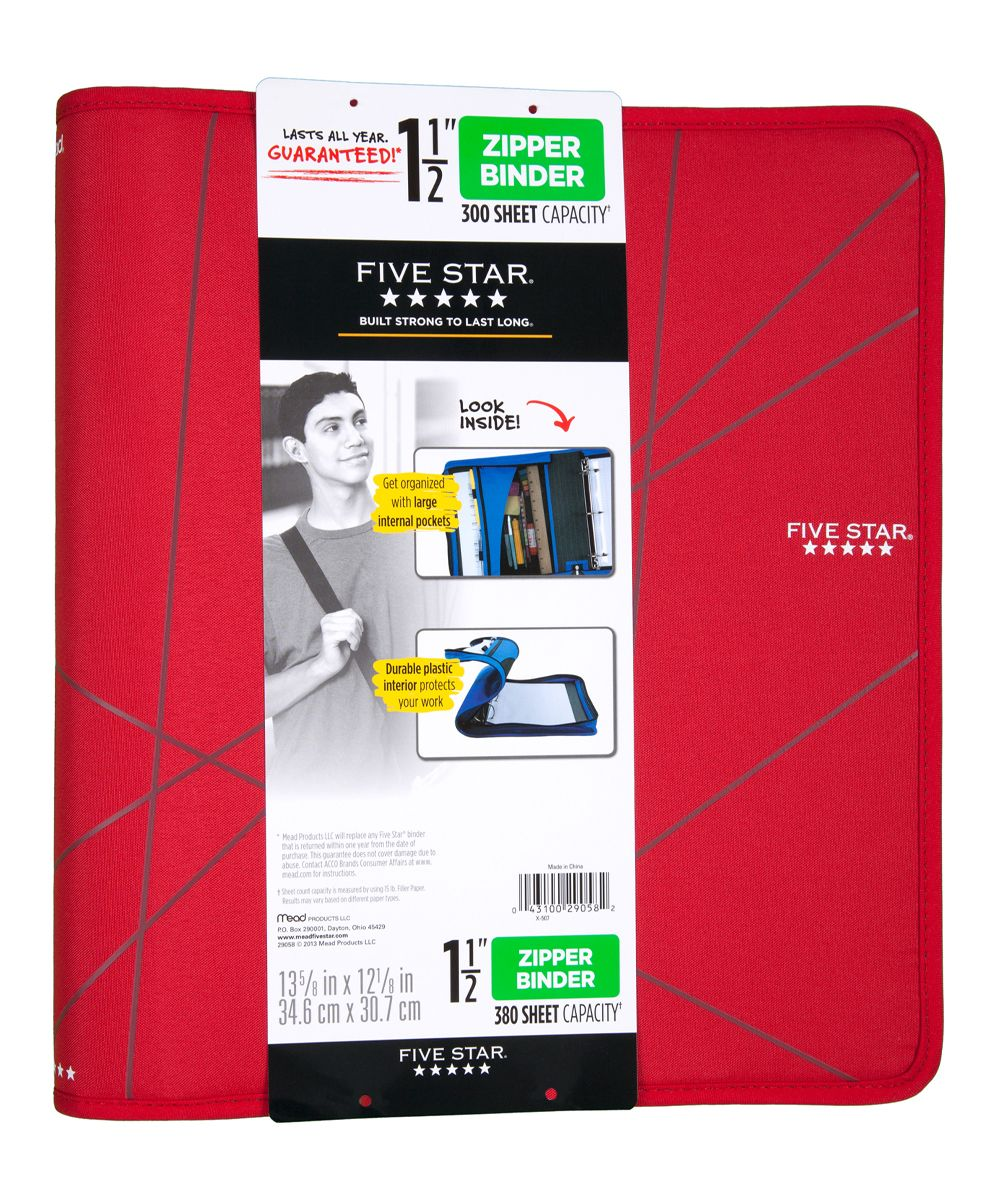 Red 1.5'' Zipper Binder