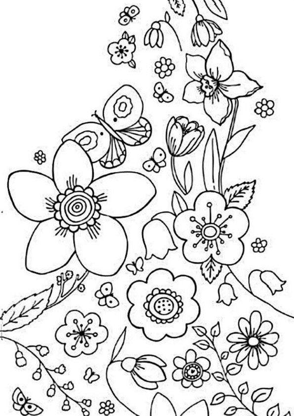 frühling ausmalbilder 16  flower coloring  pinterest