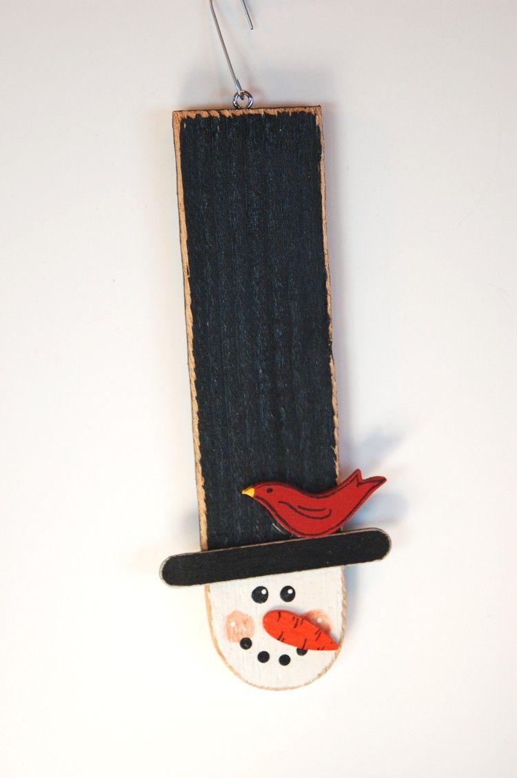 Handmade Wooden Snowman Ornament. 3.00, via Etsy. Xmas