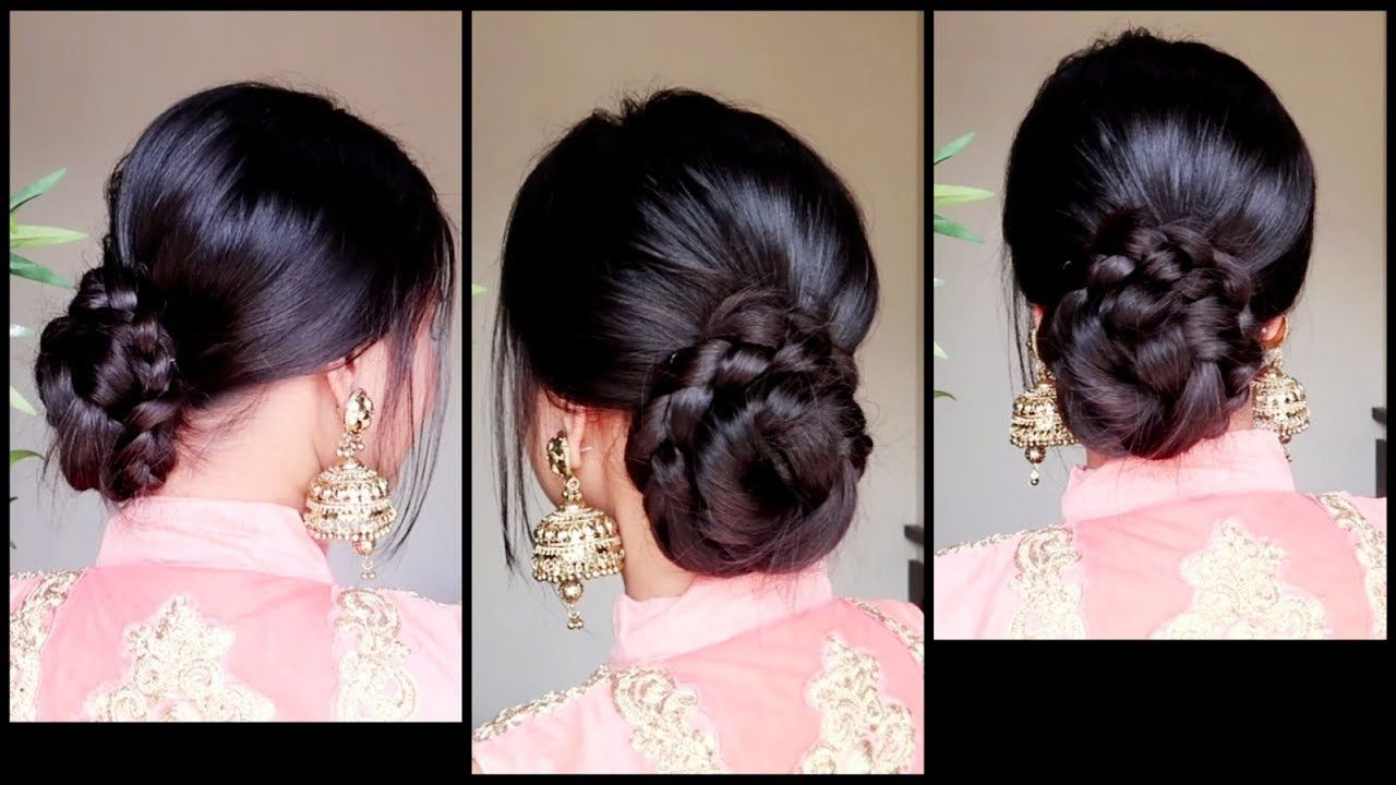 Quick Easy Braided Bun Hairstyle For Parties Indian Wedding Guest Hairstyle For M Wedding Guest Hairstyles Indian Bun Hairstyles Easy Hairstyles For Long Hair