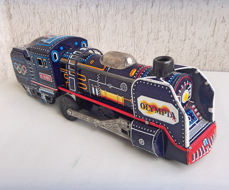 Japanese Friction Toy Tin Locomotive Olympia C 1985 Expresse
