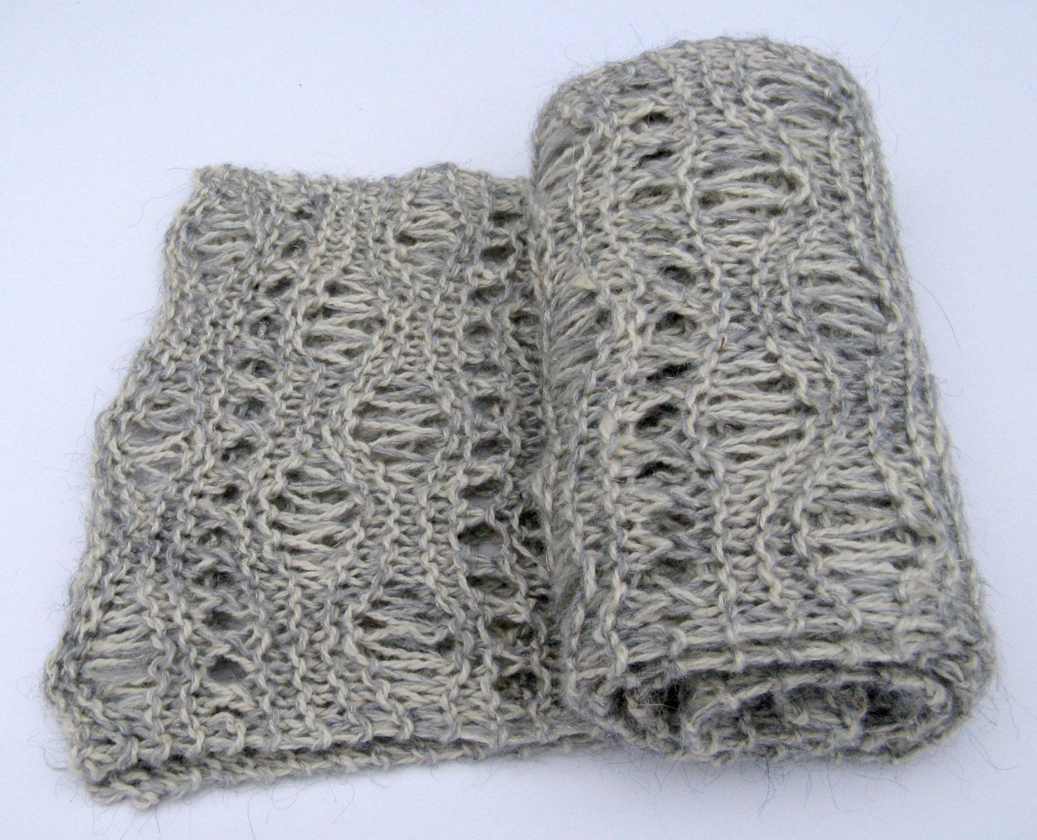 Hand Knit Scarf, Gray Winter Scarf for Men and Women made with Alpaca Wool Mohair and Sparkle Yarn by NorthStarAlpacas on Etsy