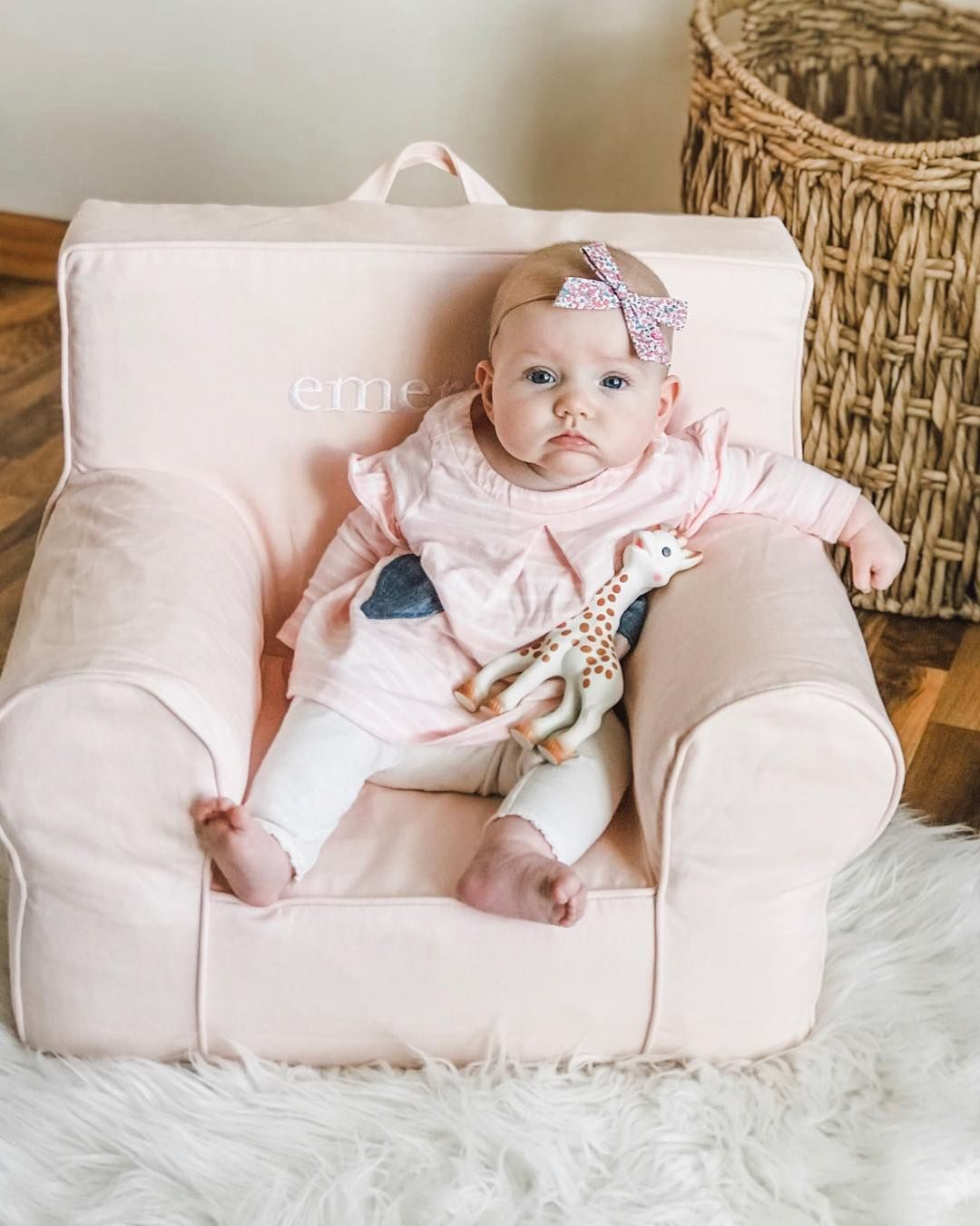 My first light pink harper anywhere chair pottery barn