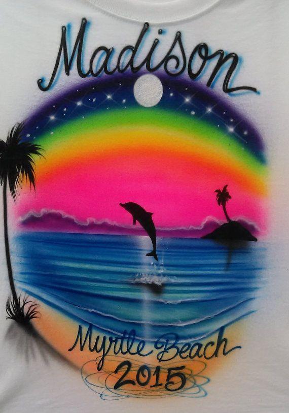 ea7d550c custom airbrushed t-shirt sunset beach scene by ATDcustomDesign ...