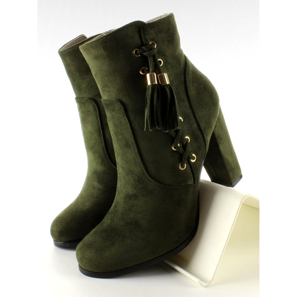 Botki Damskie Obuwiedamskie Zielone Botki Zamsz Ozdobnie Sznurowane A917bot Obuwie Damskie Shoes Boots Handbag Shoes