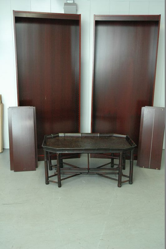 Furniture Lot including a pair of bookcases with 6 shelves and bamboo style coffee table.