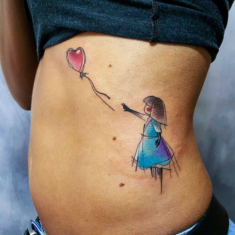 Watercolor Tattoos with Simona's Signature Heart
