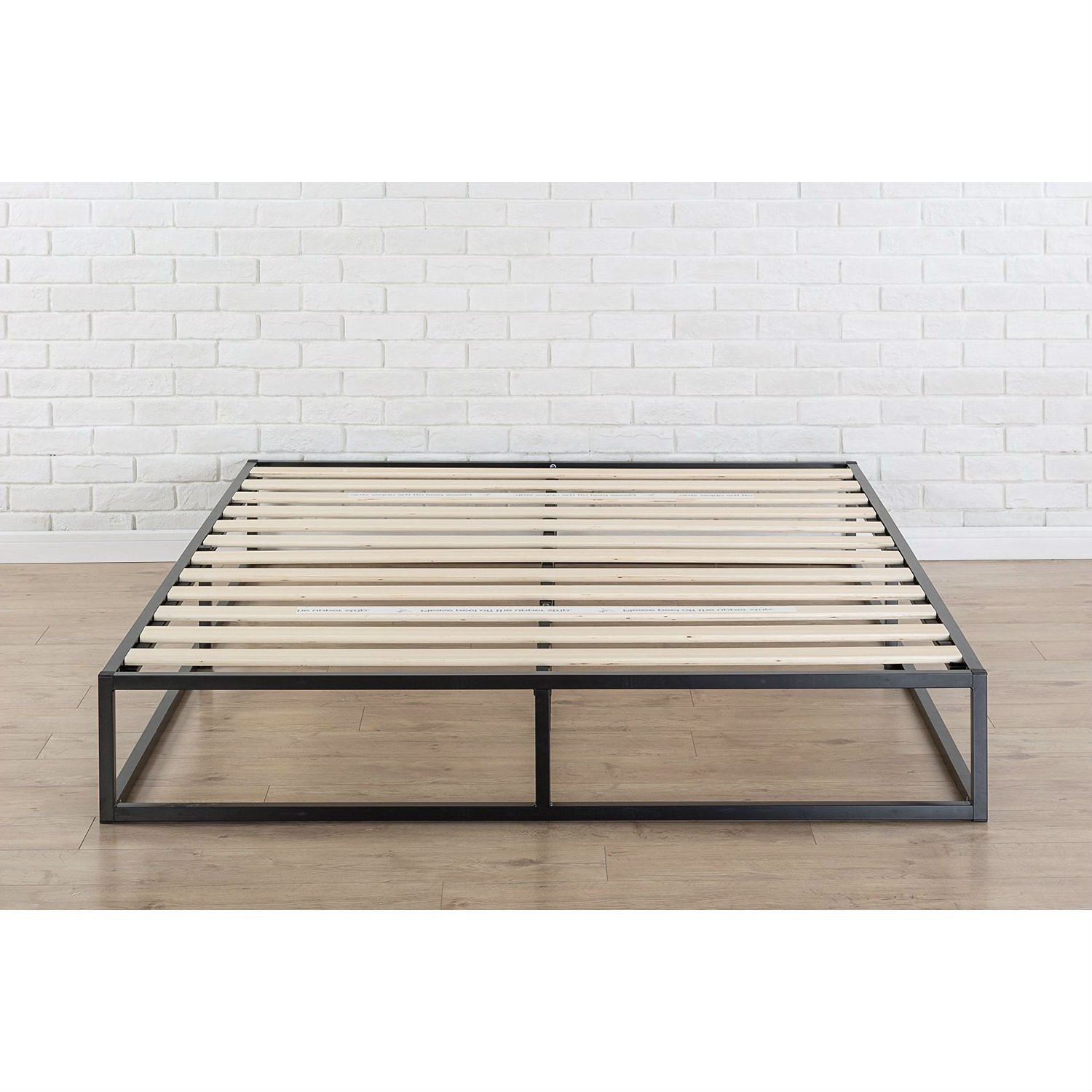 King Size Modern 10 Inch Low Profile Metal Platform Bed Frame With Wood Slats Low Platform Bed Frame Metal Platform Bed Platform Bed Frame