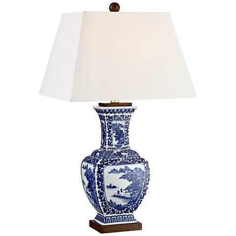 Leah Blue And White Ceramic Table Lamp   #21T45 | Lamps Plus