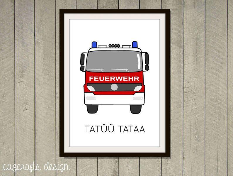 Poster feuerwehr a4 f rs kinderzimmer von cazcrafts design - Feuerwehr bilder kinderzimmer ...