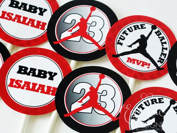 Jordan Baby Shower, White Baby Showers, Baby Shower Themes, Shower Ideas,  Chicago Bulls, Michael Jordan, Air Jordans, Cupcake Toppers, Watermelon  Designs